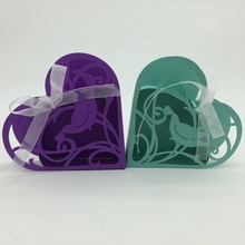 2015 Best selling Green,Purple Bird Heart Shape laser cut wholeale candy box with ribbon chocolate box baby shower gift box