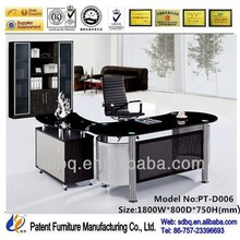 Favorable Price promotion upscale modern tempered glass office desk computer tables design layout