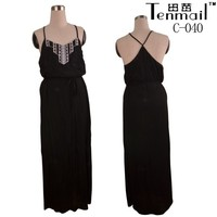 Women black embroidery cotton maxi dresses