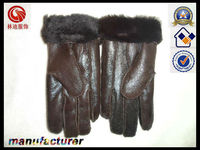 new winter fashion warm thickening black sheep skin leather gloves men touch five fingers warm gloves