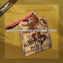 custom private Special shape stamping golden printed paper hang tag for clothing