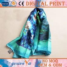 No MOQ Digital Printing Own Design Silk Scarf