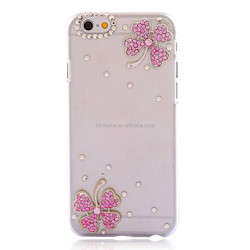 Shiny Bling Transparent case with rhinestone flower leaf luxury diamond Slim case cover for iphone 6 4.7inch wholesale cheap