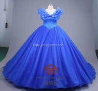 Vintage Ball gown off shoulder bridal gowns Cinderella Royal blue wedding dress for girls Organza Wedding gowns 2015 HMY-D378