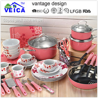 2015 hot design stainless steel pink 59PCS cookware set kitchen pot and pan sets