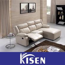 Living room furniture leather recliner corner modern sofa