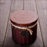 Scented home decoration Multi-Colored wood Lid Frosted glass candle jars From Stock