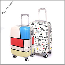 fashional pc material name brand colorful hard shell travel luggage,travel pro luggage