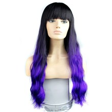 ombre color wigs ombre blue straight bang hair wigs body wave synthetic hair wigs