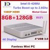 2015 Latest 128GB SSD 8GB RAM Mini Computer i5 4200U Dual Core CPU Fanless Desktop PC Aluminum Case
