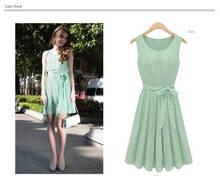 la moda de la mujer sin mangas de menta verde de gasa plisada casual lolita partido mini vestido con cinturón g0170