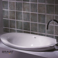 norma europeia suave superfície de mesa oval grande casa de banho bacia cerâmica c22142w