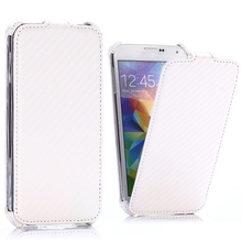 Carbon Fiber Pattern Vertical Flip Leather Fancy Cell Phone Cover Case for Samsung Galaxy S5