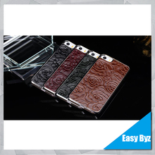 rose printed genuine leather phone case for Apple iPhone 5 genuine leather holster