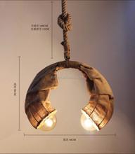 Oriental style handmade hemp rope linen ox horn moon shaped droplight for restaurant/livingroom