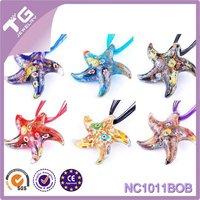 Wholesale Starfish Shape necklaces & pendants Lampwork Glass Pendant Gold Dust Murano Glass Pendant For Necklace