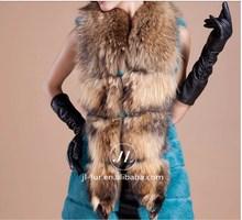 2015 Wholesale Women Rabbit Fur Vest with Racoon Fur Collar,Racoon Fur Trim