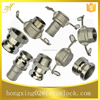 "Stainless steel camlock coupling, China manufacturer, Parts A B C D E F DC DP, size from 1/2"" to 8"""