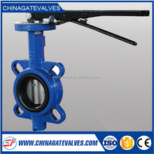 Ductile iron lever handle soft sealing wafer butterfly valve