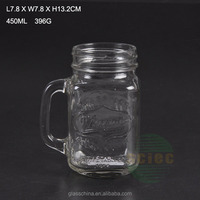 Embossed 16oz glass mason jar with tin cap with color straw