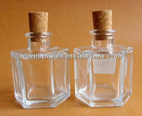 100ml Hexagonal glass packaging aroma reed diffuser bottles with cork free samples wholesale China Supplier
