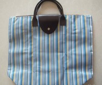 recycled striated polyester bags with leather short handles wholesale