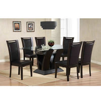 High quality wooden expandable glass dining table
