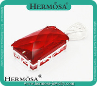 2015 New Arrival Hermosa Jewelry Trendy Red Garnet 925 Sterling Silver Big Stone Pendants Design Jewelry Charms For Women