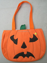 Wholesale fashion design felt bag halloween pumpkin bag for kids