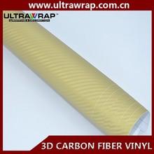Ultrawrap 1.52x30 meter bubble free 3D gold custom carbon fiber vinyl roll