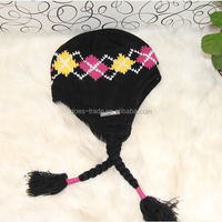 100% Acrylic Knitted Winter Hat with Polar Fleece Lining