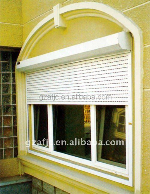 Guangzhou window shutter metal window roller shutter security roll up windows rolling window for Roll up window shutters exterior