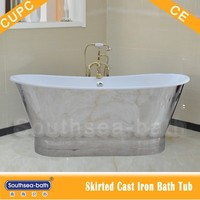 Skirted Cast Iron Bathtub/Bateau Bath Wrapped in SS skirt with specular gloss finished