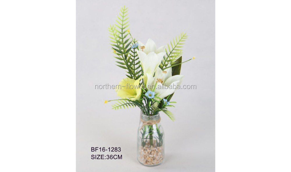 Artificial Lilies Gladiolus Flower Arrangements In Glass Vase For