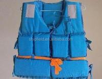 blue fishing life vest for lifesaving at sea