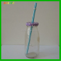 Glass glass Bottle vegetables bottles with cap and straw wholesale