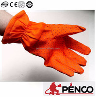 Orange industrial long rubber safety gloves
