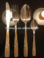 24pcs stainless Steel 18/0 gold Flatware set dough portioner