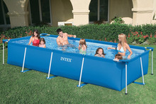 Family enjoying plastic water pool,Intex framed swimming pool, intex adult swimming pool