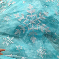 Turquoise Blue Snowflake Organza Frozen/crystal organza fabric snowflake/crystal organza snowflake fabric