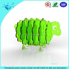Verde transparente de acrílico set coaster con soporte para los regalos y decoraciones