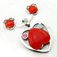 Indian Bridal Jewelry Set with Red Heart Stone