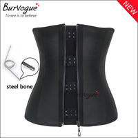 On sale new corset Zip n Clips Smooth Latex Steel Boned corset for hot woman sexy lingerie corset