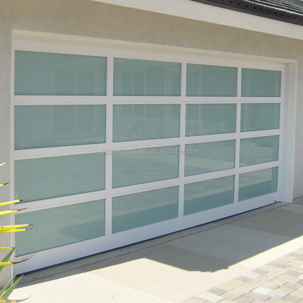 modern aluminum frame full view glass panel garage door