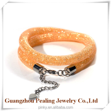 Fashion new design wire mesh bracelet wrap crystal with adjustable clasp for young people