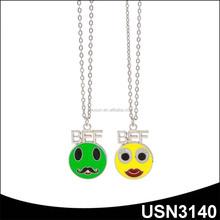 emoji Mustache and Lips Face best friend forever best friend pendant necklace