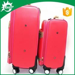Made to Order Fashional Design red luggage suitcase eminent PU travel luggag