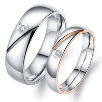 Simple Design Couple Wedding Party Rings Fashion Stainless Steel AAA+ Cubic Zirconia Smooth Surface Jewelry GJ458