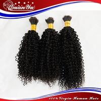 afro kinky bulk human hair for braiding, 100% Unprocessed Virgin Brazilian Bulk Human Hair Extensions Without Weft