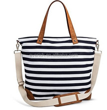 new design navy/white Women's Strip Canvas Tote Handbag with Removeable Crossbody Strap for women